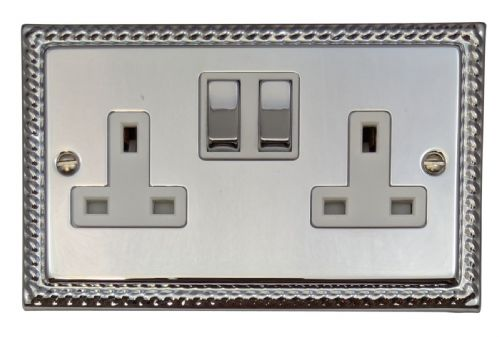 G&H MC210 Monarch Roped Polished Chrome 2 Gang Double 13A Switched Plug Socket